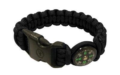 Survival Bracelet 8 inch w/ Compass, Black